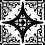 Svart mönster Självhäftande kakeldekor 12 stycken