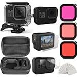 Eyeon 8 in 1 Shockproof Small Case + 60M Waterproof Housing + Tempered Glass Screen Lens Protector + Silicone Sleeve Case + Lens Filter + Anti-Fog Inserts Accessories Kit Bundle for GoPro Hero 8 Black