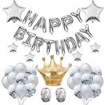 Letter Crown Sequin Balloon Set Five-pointed Star Party Decor Silver