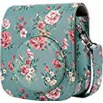 Camera Case for Fujifilm Instax Mini 11 Instant Camera, Annle PU Leather Protective Case with Removable Strap - Peony