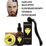Beard Growth Kit, Beard Derma Roller+ Beard Growth Serum Oil+ Beard Balm, Facial Hair Growth Kit, Derma Roller for Men