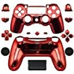 Canamite Replacement Parts Full PS4 Controller Housing Shell Protective Case Cover Button Kit for PlayStation 4 DUALSHOCK 4 Controller (red)