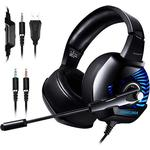 K6 Professionell Wired Gaming Headset LED RGB Lighting Hörlurar 3.5mm Bass Noise Cancelling With Mic