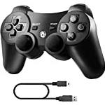 Diswoe PS3 Wireless Controller, Wireless Controller for Playstation 3 Double Shock Gaming Controller 6-Achsen Bluetooth Gamepad Joystick with Charging Cable for PS3 Controller for Playstation 3