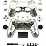 Canamite Replacement Parts Full PS4 Controller Housing Shell Protective Case Cover Button Kit for PlayStation 4 DUALSHOCK 4 Controller (silver)