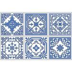 Blandade blå marrakechmönster Kakeldekor självhäftande 24-pack