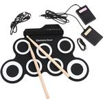 Electronic Drum Digital USB 7 Pads Roll up Drum Set Silicone Electric Drum Pad Kit With DrumStick Foot Pedal percussion