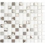 Mosaik aluminium vit blank 32,7x30,2 cm