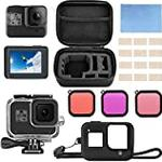micros2u Accessory Kit compatible with GoPro Hero 8 Black. Bundle Includes Waterproof Housing + Tempered Glass Screen Protector + Carrying Case + Silicone Sleeve + Dive Filters + Anti-Fog Inserts