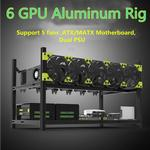 6GPU Aluminum Stackable Open Air Mining Case Computer Frame Rig Bitcoin Ethereum High quality computer case tower For BTC