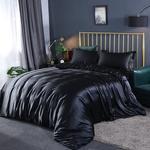 Satin siden sängkläder set, täcke, påslakan och örngott, lakan, enkel, dubbel, sängkläder, silkeslen - Black - 3pcs 150x200cm
