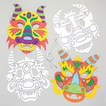 Chinese Dragon Craft Masks - 8 Card Masks In Different Designs. Colouring Craft Masks For Kids. Size 18-22cm.