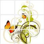 Självhäftande kakeldekor Fjärilar & Växt Kakeldekor