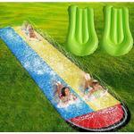 YesFit Dubbel gräsmatta uppblåsbar vattenrutschkana med 2 surfbrädor