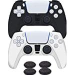 PS5 Controller Skin Black & White Anti-Slip Silicone Cover Protective Case Skins + 4 Thumb Grips for Sony Playstation 5 Dualsense Wireless Controller - PS5 Accessories - Comfortable Grip - UK Seller