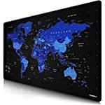 CSL Oversized German Layout Titanwolf Mouse Mat 1200 x 600 mm World Map XXXL Large with Motif for Logitech Mouse and Keyboard, Blue