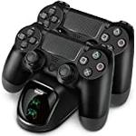 TNP PS4 Controller Charging Station Dock Stand - Dualshock USB Port Dual Charger Cradle Pad Base w/ USB Cable & LED Indicator for Sony PlayStation 4 PS4 Pro PS4 Slim Wireless Gaming Controller (Black)