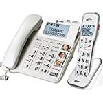 Geemarc Amplidect 595 Combi - Corded Phone + Cordless Handset - Amplified (50dB) Loud Phone with Big Buttons, Amplified Ringer, Indicator, Locator and SOS Buttons - Hearing Aid Compatible (T-coil)