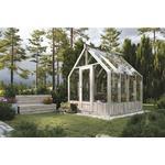 Växthus PALMAKO Emilia 5,4m² härdat glas 4mm inkl. automatiska ventilationsfönster 240x244cm trä tryckimpregnerat grått