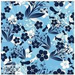 Självhäftande Kakeldekor 12-pack Blå blommor