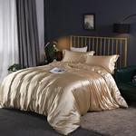 Satin siden sängkläder set, täcke, påslakan och örngott, lakan, enkel, dubbel, sängkläder, silkeslen - Brown - 3pcs 200X230cm