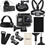 Eyeon 10 in 1 Accessory Bundle Kit for GoPro Hero 8 Black-60M Waterproof Housing + Chest Harness Strap + Head Strap Mount + Wrist Arm Strap + Strorage Pouch Bag + 360 Rotation Backpack Clip Mount