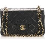 Chanel Small Classic Lambskin Leather Double Flap Bag, black - black