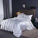 Satin siden sängkläder set, täcke, påslakan och örngott, lakan, enkel, dubbel, sängkläder, silkeslen - White - 3pcs 200X230cm