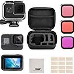 Deyard Accessories Kit Compatible with GoPro Hero 8 Black with Shockproof Small Case + Waterproof Case + Tempered Glass Screen Protector + Silicone Cover + Lens Filters + Anti-Fog Inserts Bundle