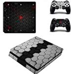 Morbuy PS4 Slim Vinyl Skin Full Body Cover Sticker Decal For Sony Playstation 4 Slim Console & 2 Dualshock Controller (Black-Grey Comb)