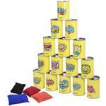 Ibasetoy Bean Bag Can Toss Game Set Party Levererar Tenn Can Alley Spel för barn födelsedagsfester 15 tenn burkar och 4 bönpåsar ingår