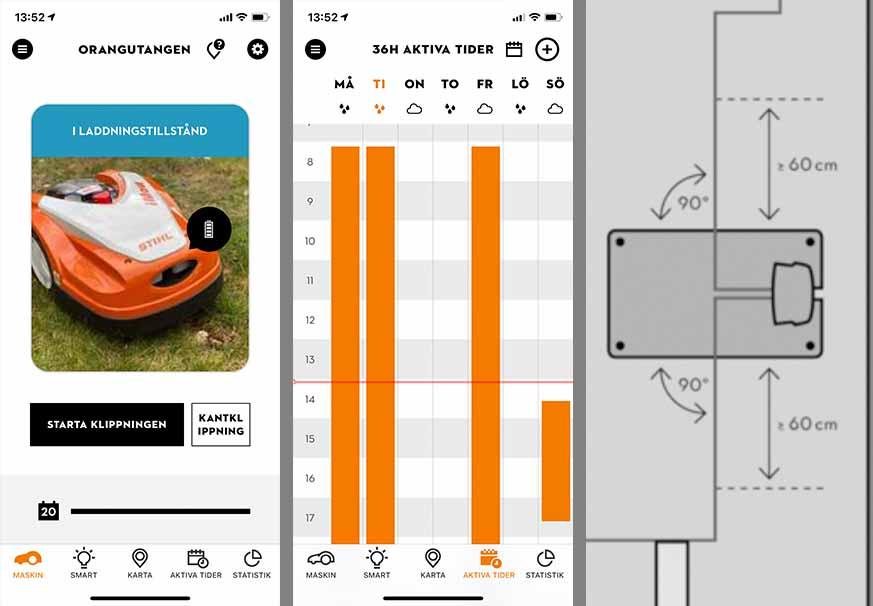 Så här ser delar av appen ut hos Stihls robotgräsklippare, samt positioneringen av laddstationen