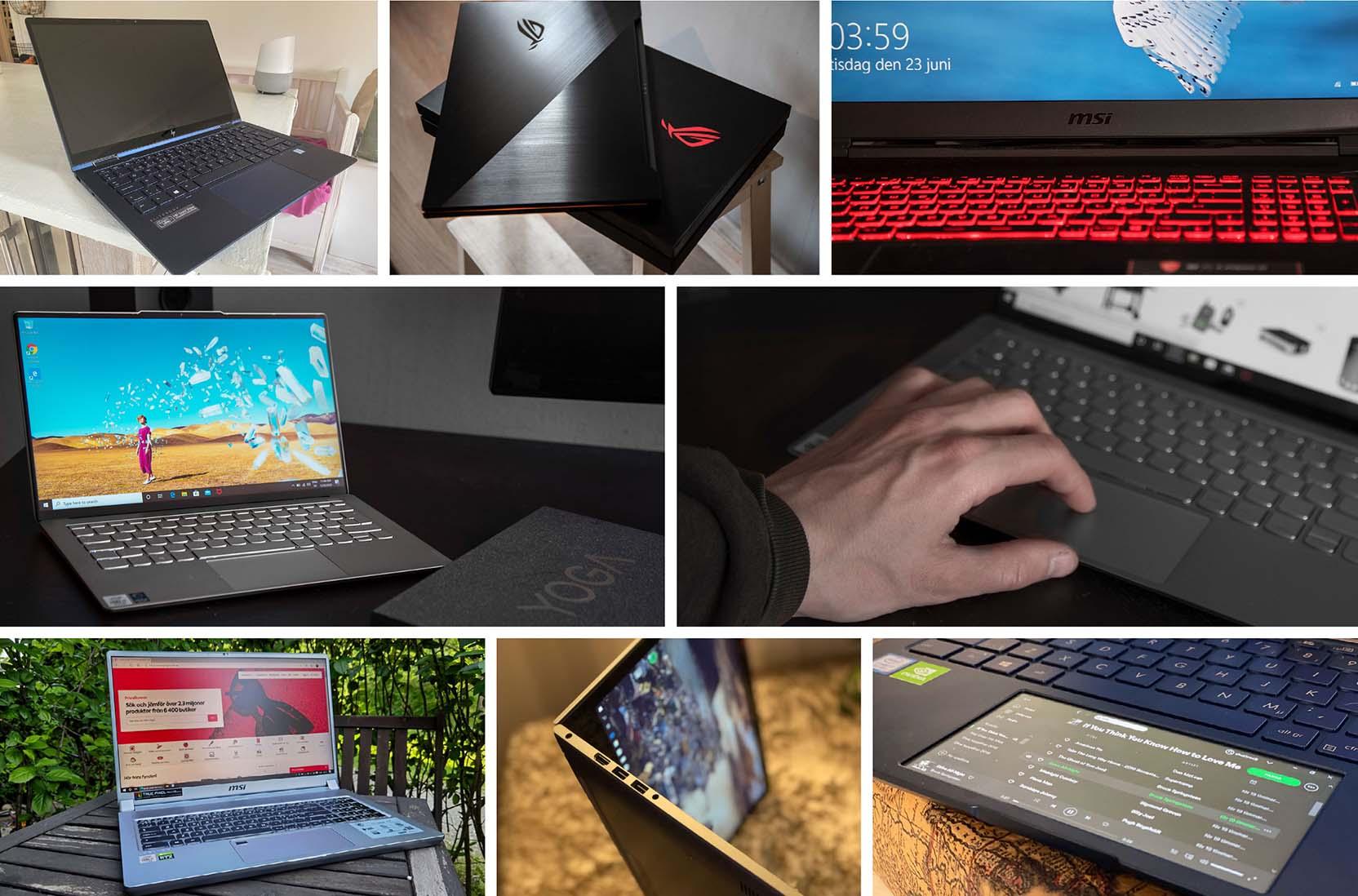 Ett urval av bilder från när vi testar olika datorer