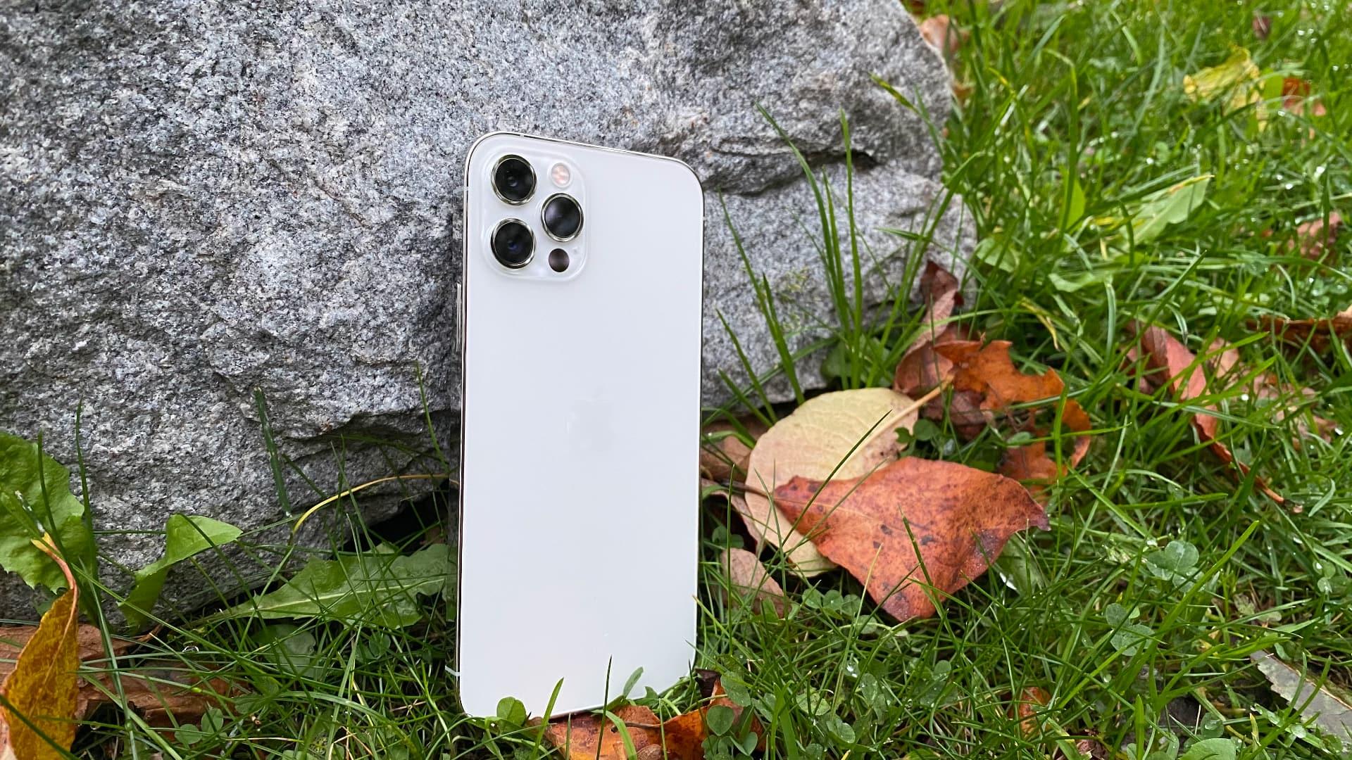 Iphone 12 Pro, Silver, sten, baksida