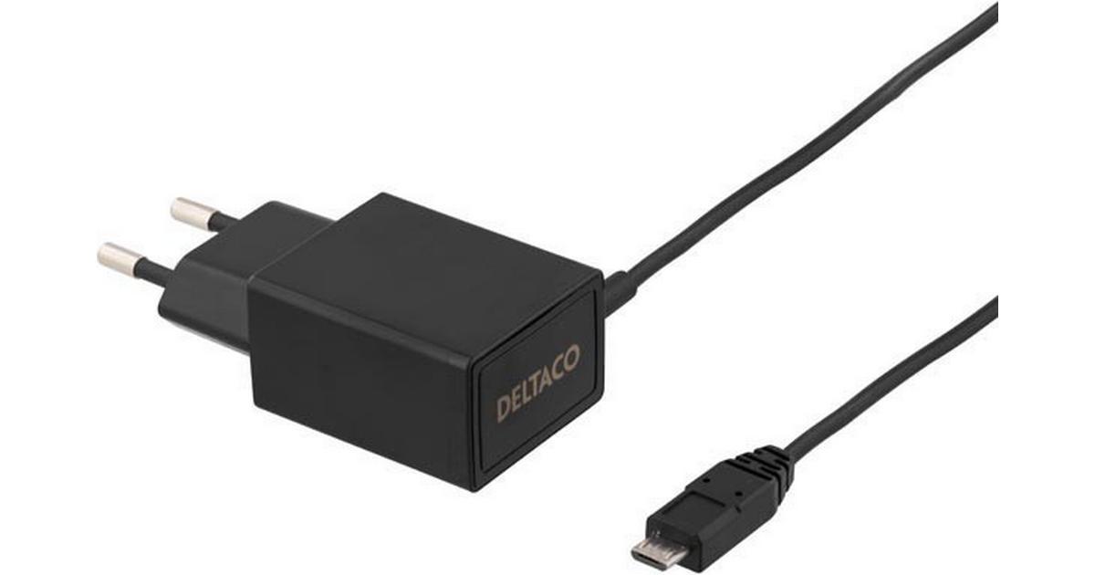 DELTACO Väggladdare micro USB 2.1A Svart 1m