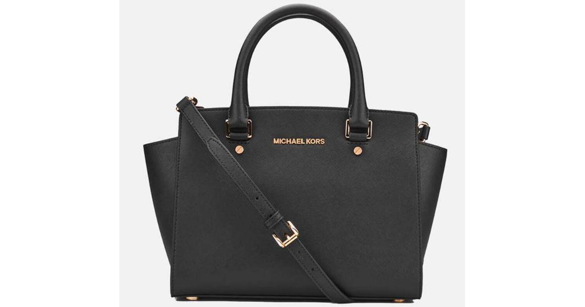 Michael Kors Selma Saffiano Leather Medium Satchel Black