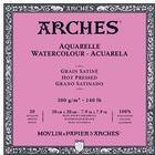 Arches Akvarellblock HP Satin 300 g. 20x20