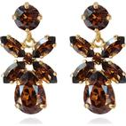 Caroline Svedbom Mini Dione Gold Plated Earrings w. Smoked Topaz Swarovski Crystals