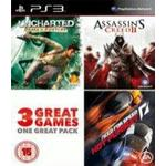 Need for speed playstation 3 PlayStation 3-spel Charity Pack (Uncharted: Drakes Fortune + Assassins Creed 2 + Need for Speed: Hot Pursuit)