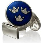 Smycken Skultuna Kronor Cufflinks - Silver/Royal Blue