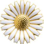 Georg Jensen Daisy Brooch - Gold/White
