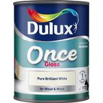 Outdoor paint Dulux Once Gloss Wood Paint, Metal Paint White 0.75L
