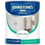 Paint Johnstones One Coat Quick Dry Satin Wood Paint, Metal Paint White 0.75L