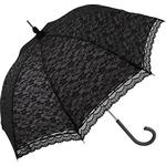 Walkingparaply Umbrella World Lace Walking Umbrella Black Over White (uw00_3483)