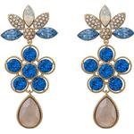 Lily and Rose Aurora Brass Earrings w. Sapphire Swarovski Crystals - 6cm