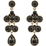 Långa örhängen Lily and Rose Miss Kate Tin Earrings w. Black Swarovski Crystals - 6.2cm