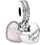 Pandora Best Friends Pink Enamel Oxidized Sterling Silver Pendant Charm w. Cubic Zirconia (791950CZ)