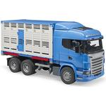 Toy Car Bruder Scania R Series Livestock Transporter with One Cow 03549