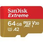 SanDisk Extreme microSDXC Class 10 UHS-I U3 V30 A2 160/60MB/s 64GB +Adapter