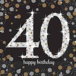 Festprodukter Partytajm Napkins Sparkling 40 Years 16-pack
